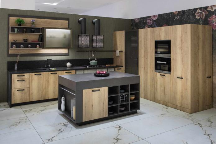 прямоугольная напольная плитка в интерьере кухни