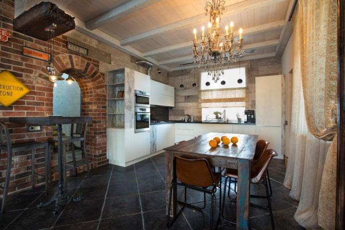 напольная плитка на кухне в стиле лофт