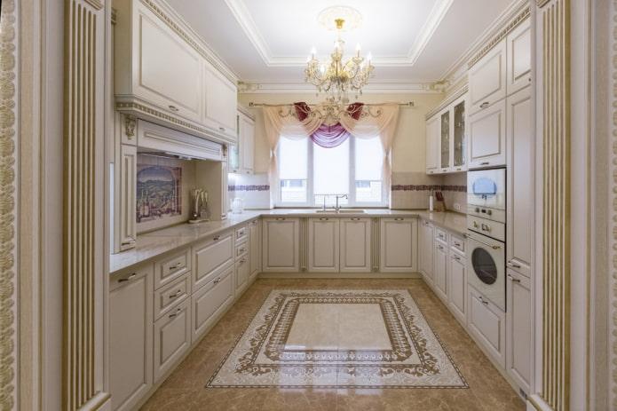 напольная плитка с панно в интерьере кухни
