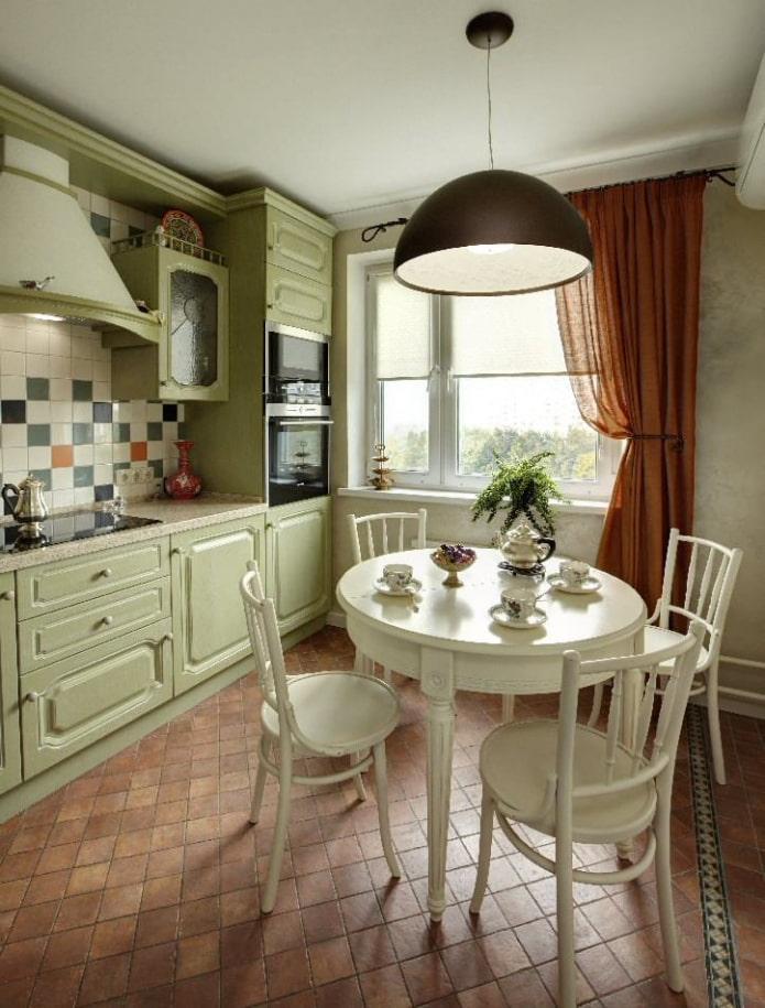 ромбовидная напольная плитка в интерьере кухни