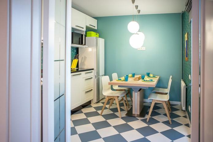 матовая напольная плитка в интерьере кухни