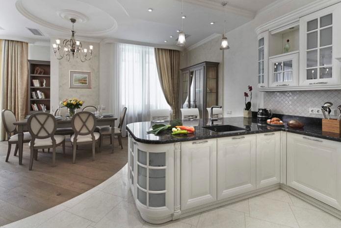 комбинированный пол в интерьере кухни