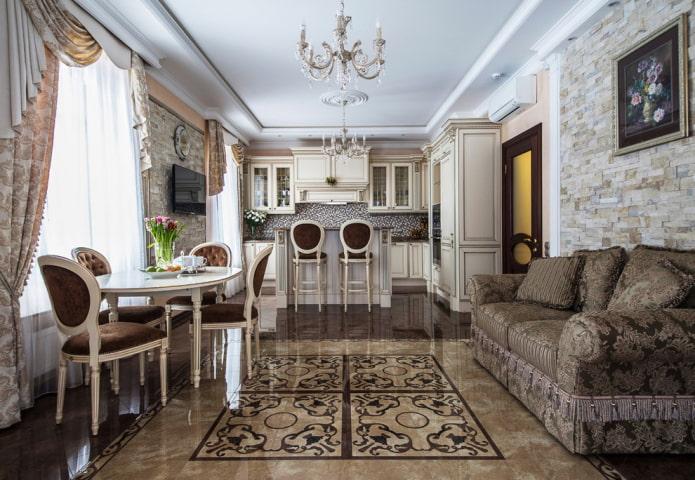 напольная плитка на кухне в классическом стиле