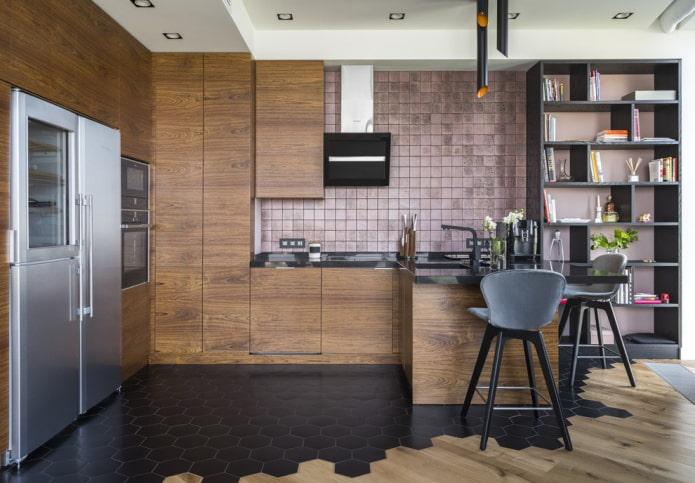 напольная плитка на кухне в современном стиле