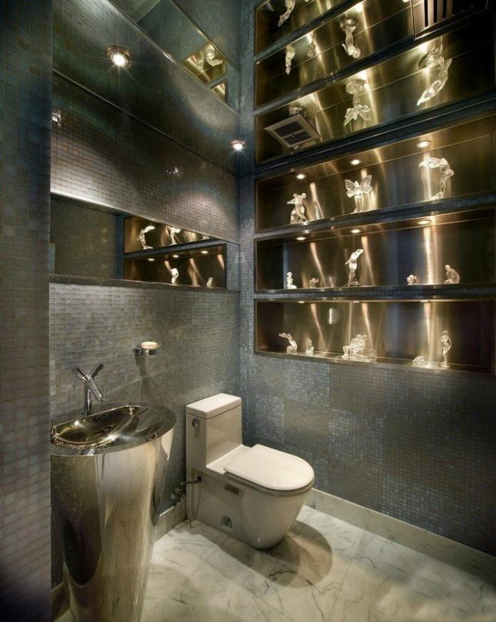 туалет в сером цвете