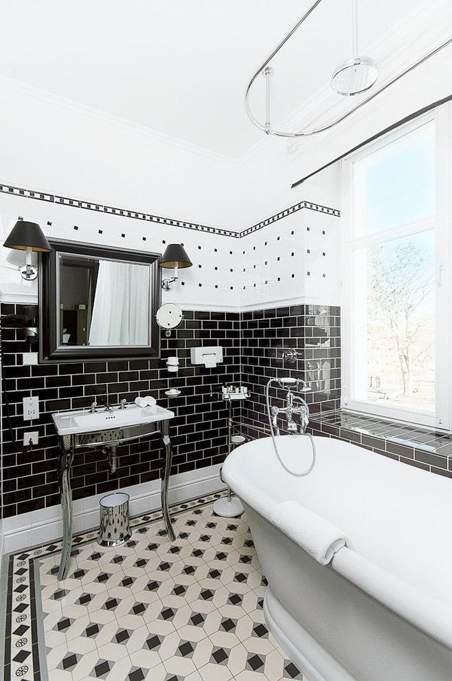 разные формы плитки в ванной