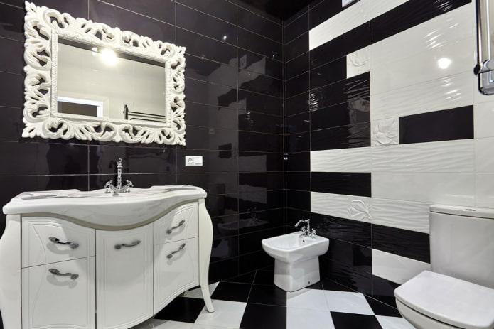 контрастная отделка ванной