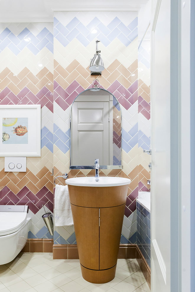 плиточная раскладка елочкой в ванной