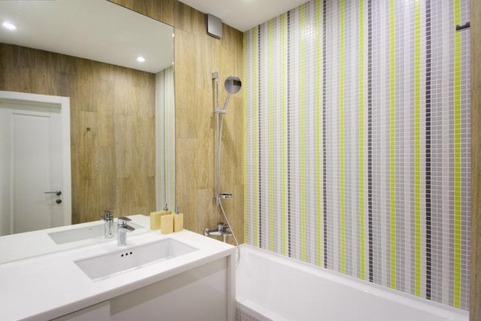 линейный плиточная раскладка в ванной