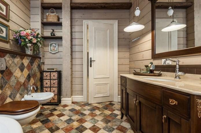 плиточная раскладка по диагонали в ванной