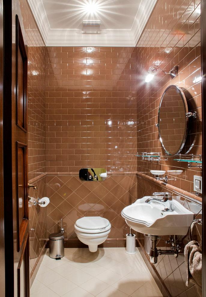 плиточная раскладка в интерьере туалета