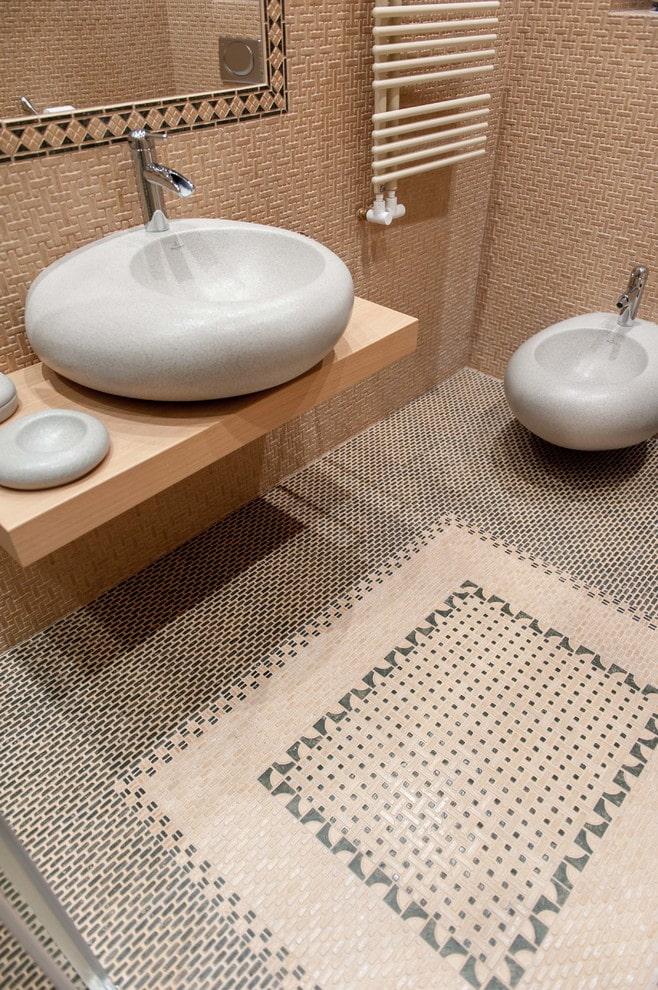 плиточная раскладка ковер в ванной