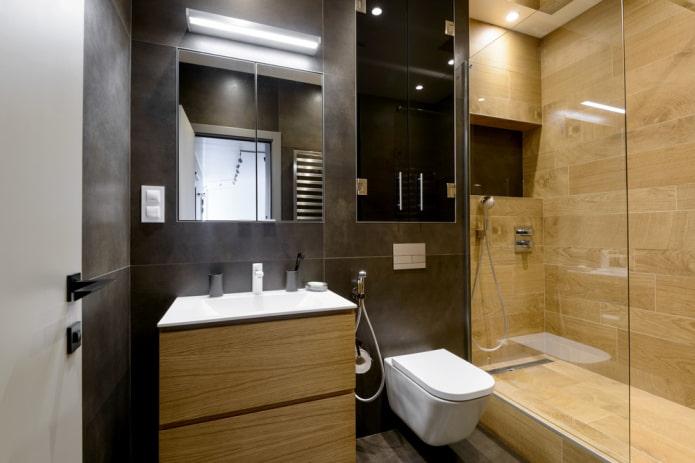 душевая с плиткой под дерево в интерьере ванной