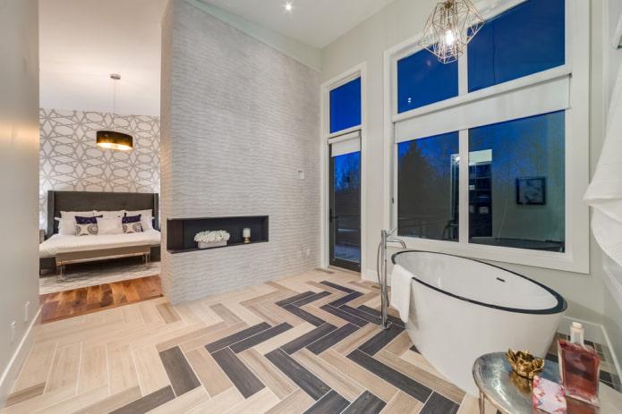 раскладка плитки под дерево в интерьере ванной