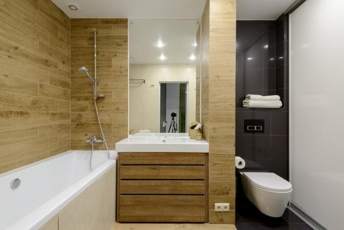 настенная плитка под дерево в интерьере ванной