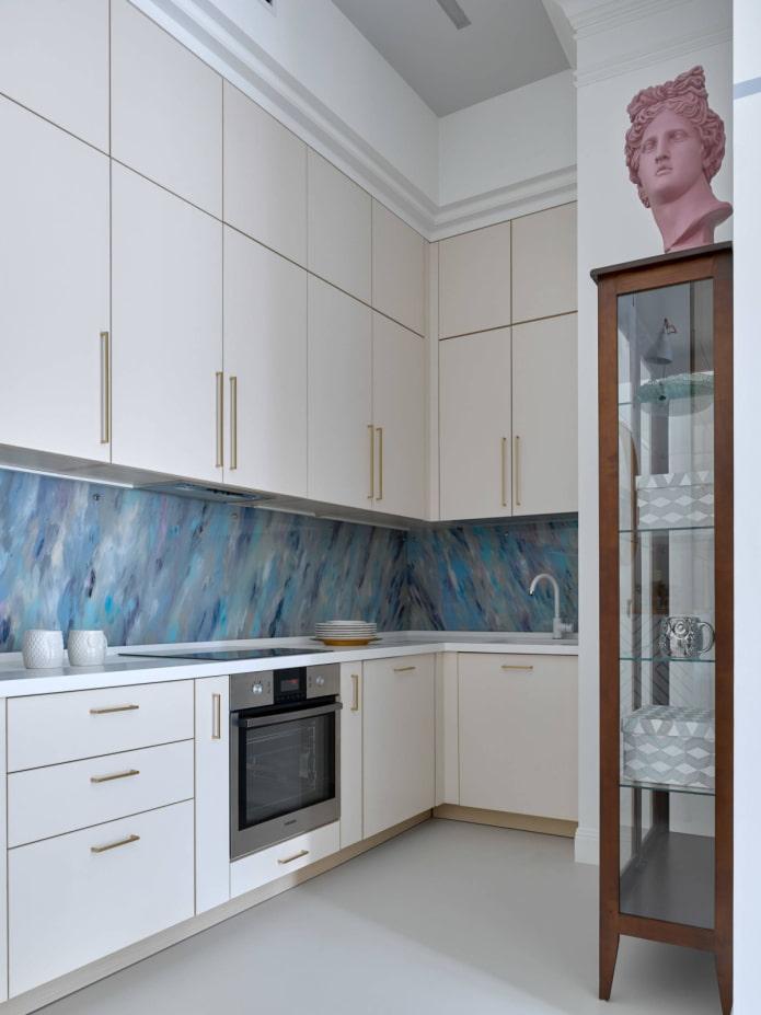 линолеум на стене в интерьере кухни