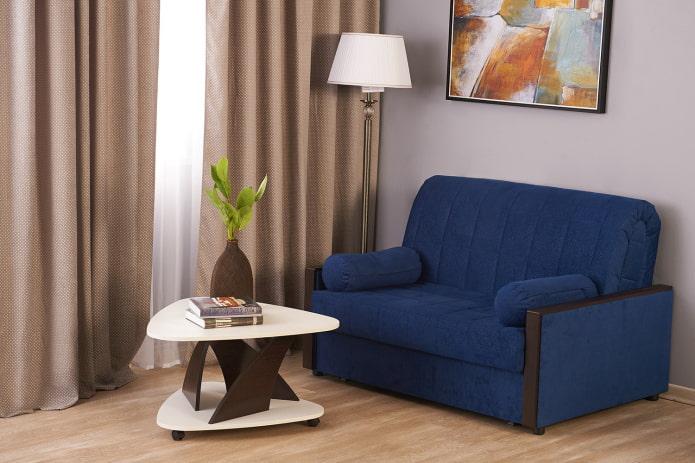 Синий диван в интерьере: виды, механизмы, дизайн, материалы обивки, оттенки, сочетания