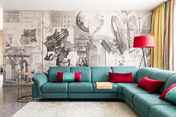 угловой диван бирюзового цвета в интерьере