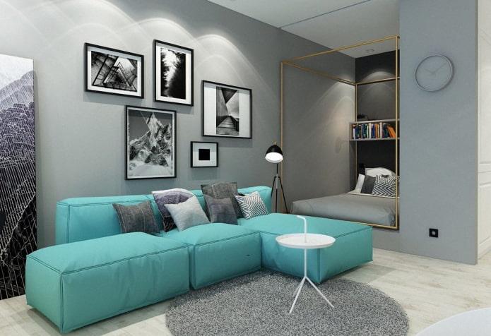 модульный диван бирюзового цвета в интерьере