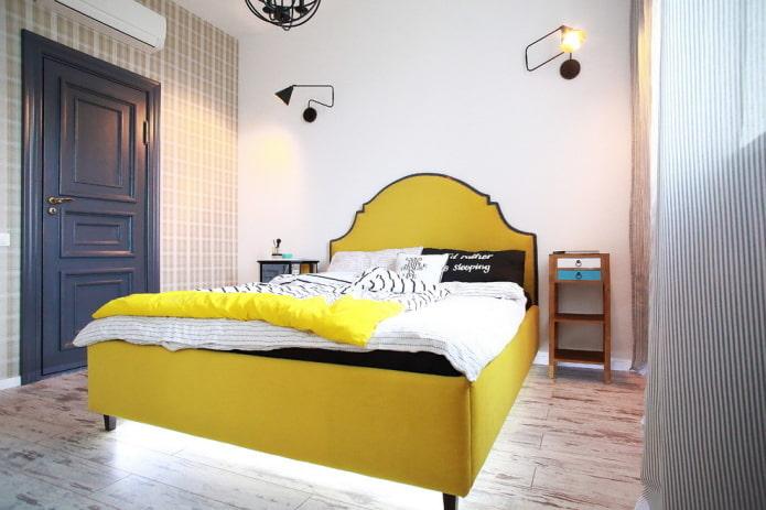 полутораспальная кровать в интерьере