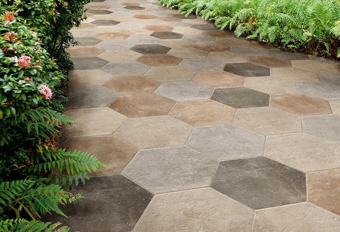 плитка для тротуара в форме шестигранника