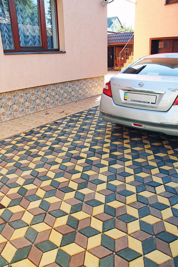 трехцветная плитка для тротуара