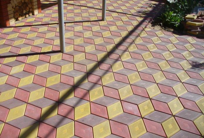 раскладка фигурной плитки для тротуара