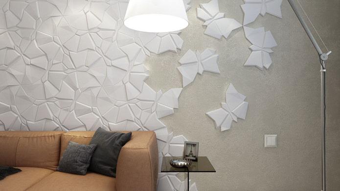 гипсовая плитка абстрактной формы в интерьере