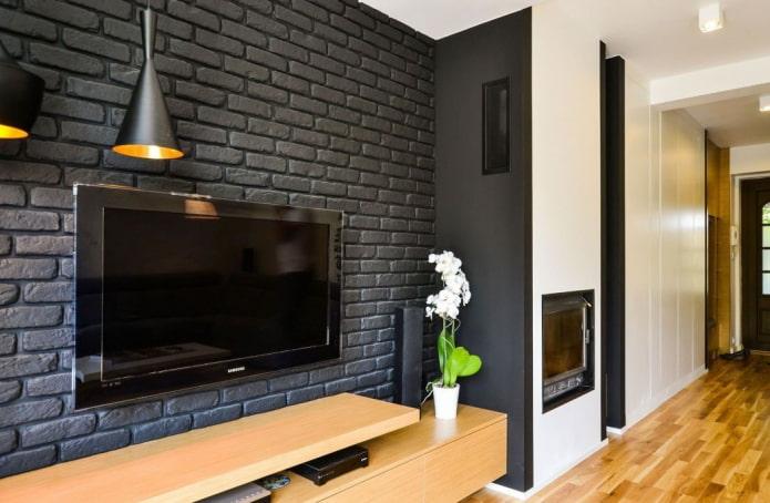 гипсовая плитка черного цвета в интерьере