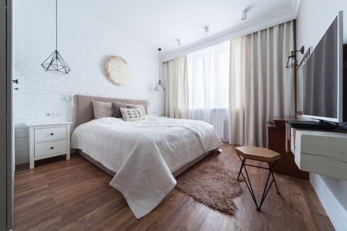 кварцвинилая плитка под дерево в спальне