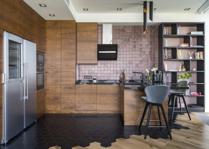 Пол на кухне плитка и ламинат фото интерьера красивый комбинированный вариант дизайна