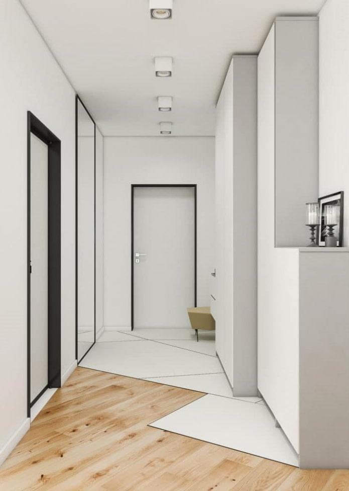 комбинация ламината и плитки в стиле минимализм