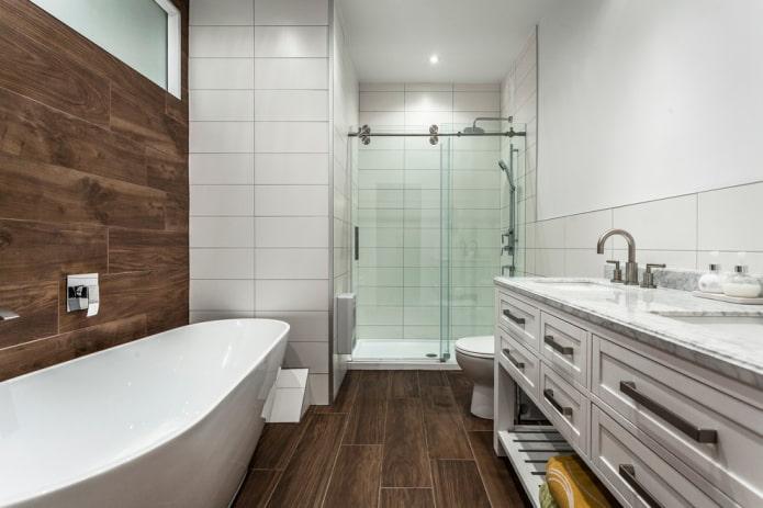 плитка для пола под ламинат в интерьере ванной