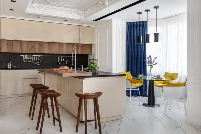 плитка для пола под мрамор в кухни интерьере