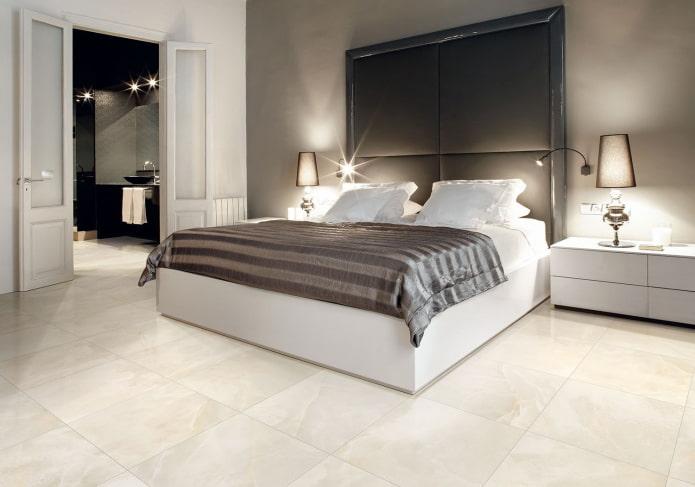 плитка для пола в интерьере спальни