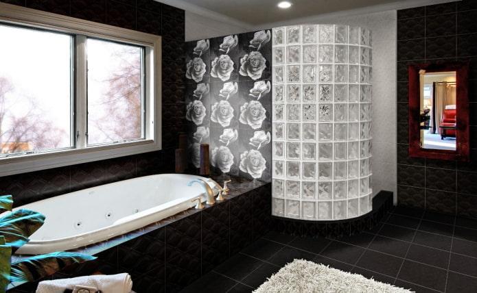 плитка для пола черного цвета в интерьере ванной