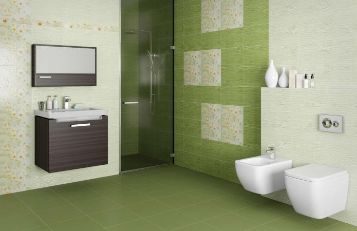 плитка для пола зеленого цвета в интерьере