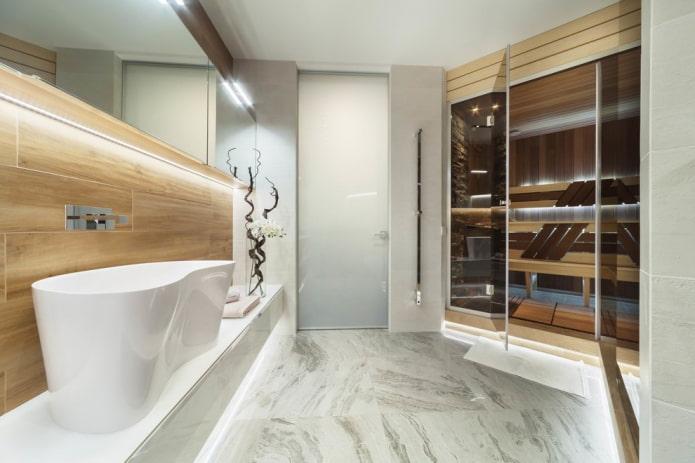 плитка под мрамор в интерьере ванной