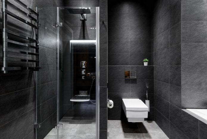 плитка черного цвета в интерьере ванной