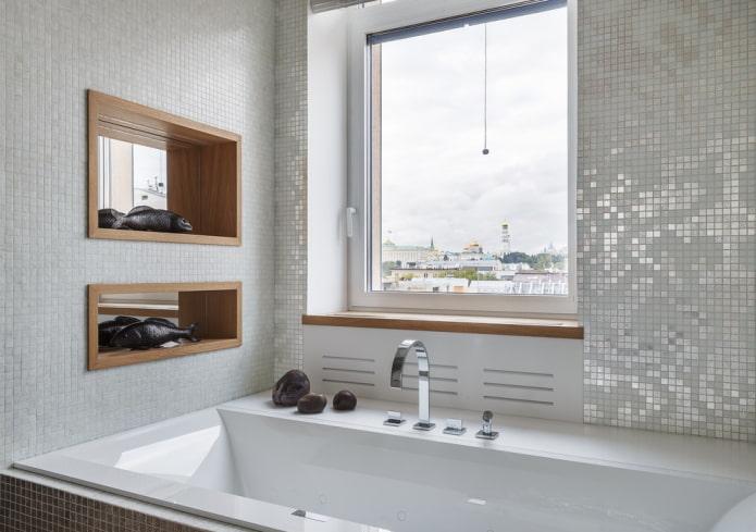 мозаичная отделка в интерьере ванной