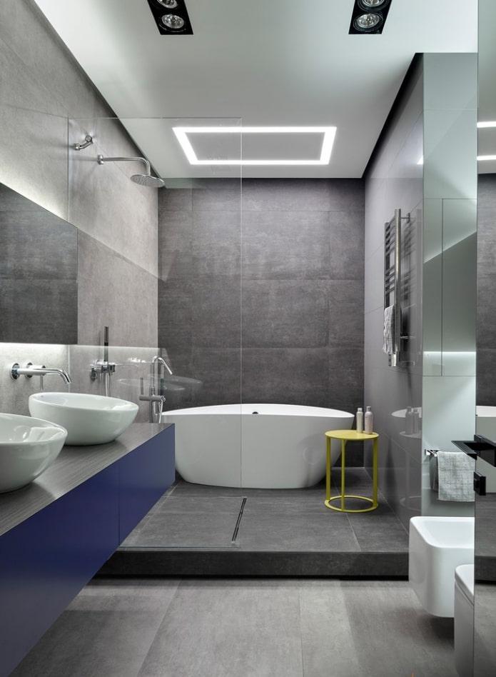плитка серого цвета в интерьере ванной