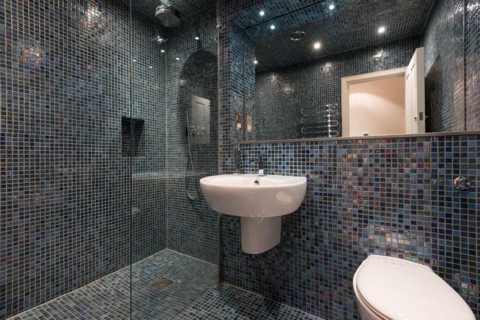 плитка синего цвета в интерьере ванной