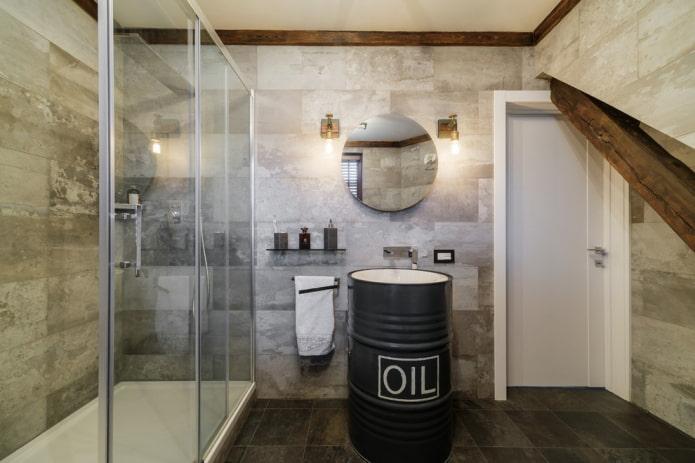 плитка в интерьере ванной в стиле лофт