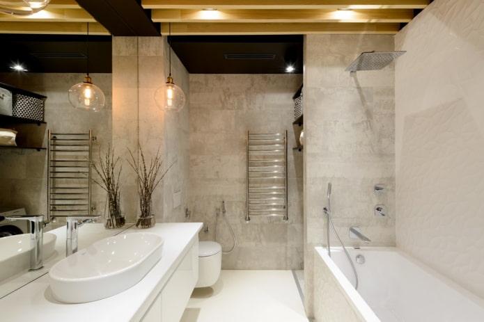 плитка под бетон в интерьере ванной