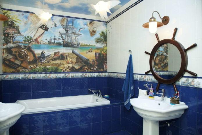 плитка в интерьере ванной в морском стиле
