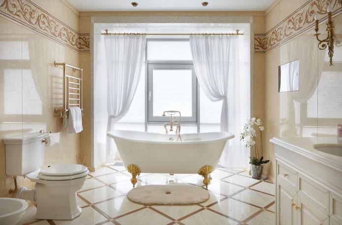 плитка в интерьере ванной в классическом стиле