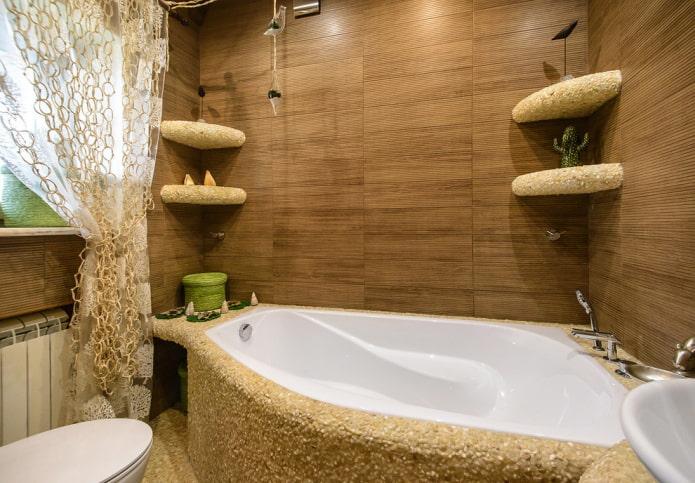 плитка коричневого цвета в интерьере ванной