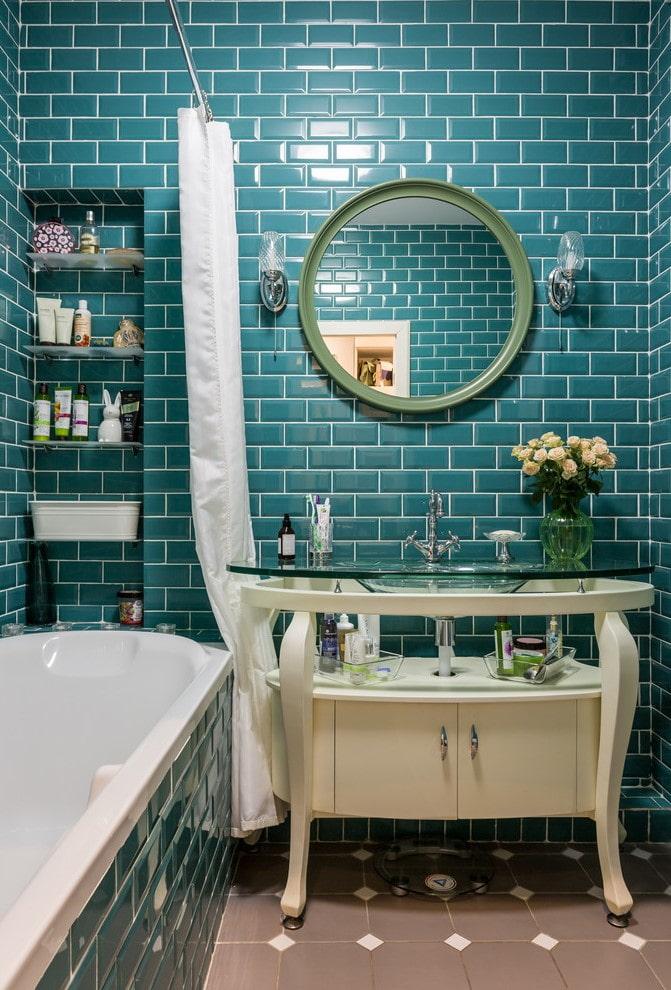 плиточная отделка кабанчик в интерьере ванной