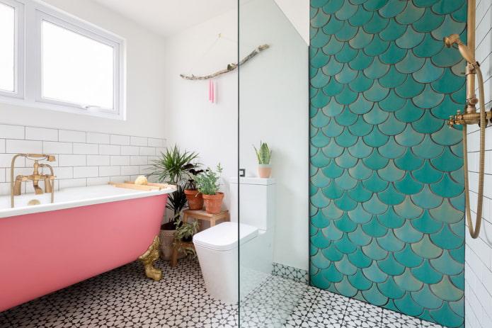 плитка бирюзового цвета в интерьере ванной