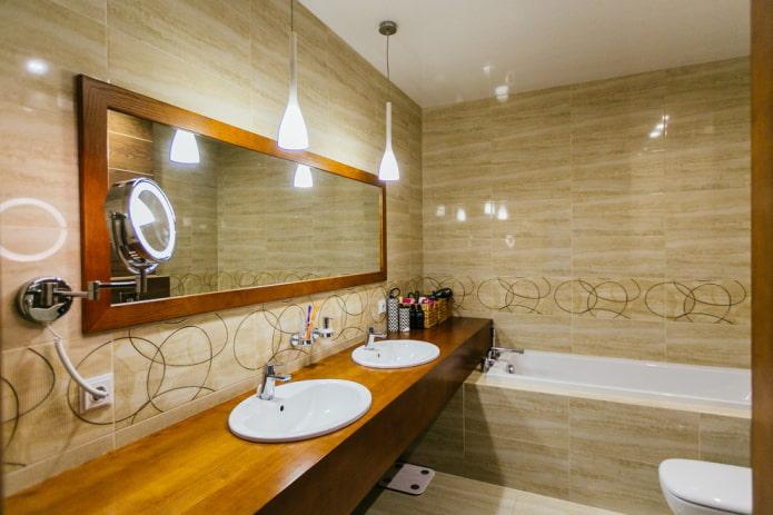 плитка бежевого цвета в интерьере ванной